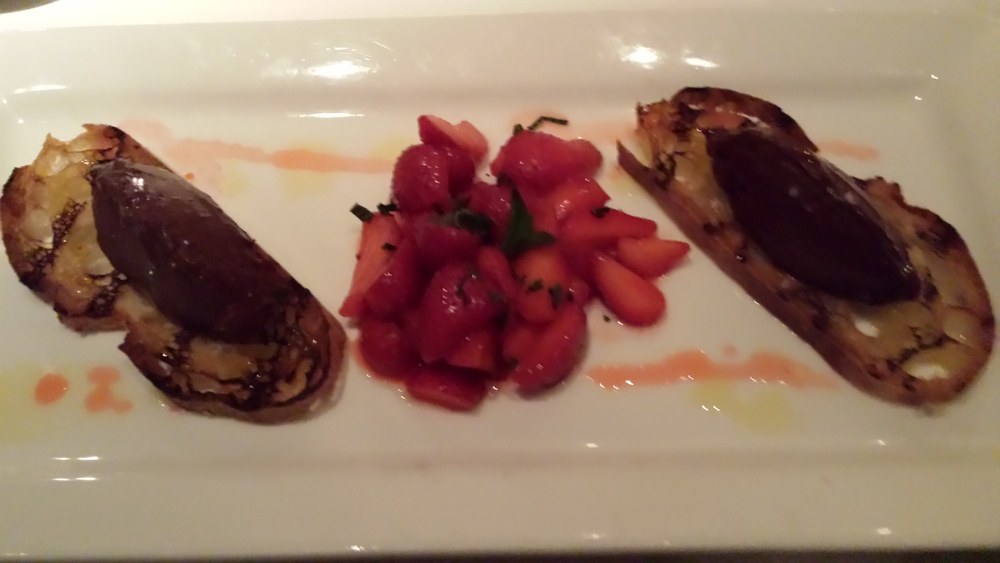 Dark Chocolate Mousse on Bruschetta with Sea Salt, EVOO and Strawberry Compote.