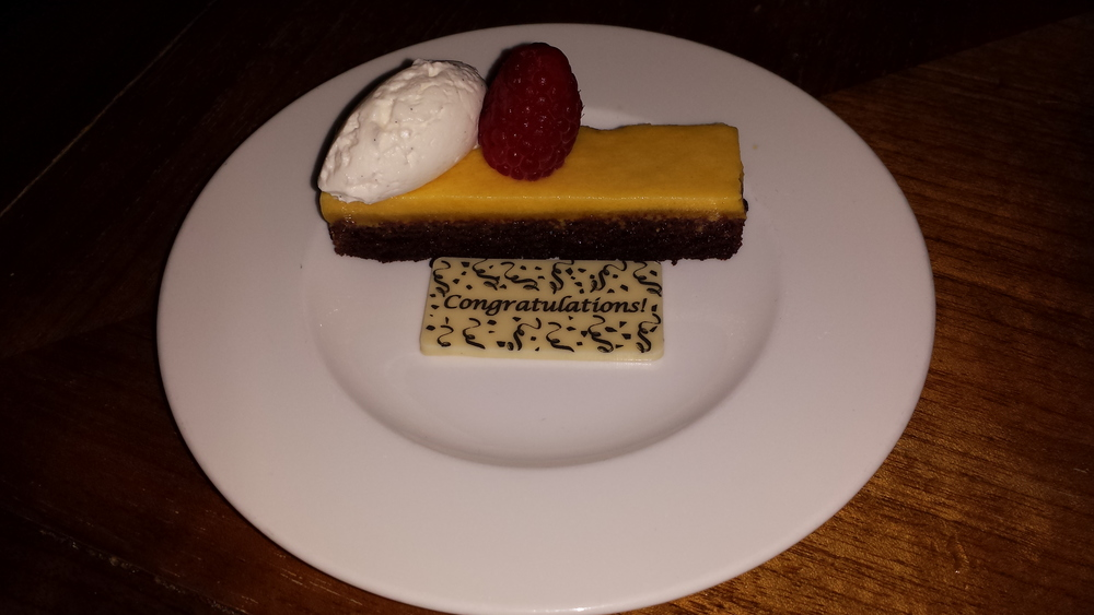 Complimentary passionfruit congratulatory dessert. :)