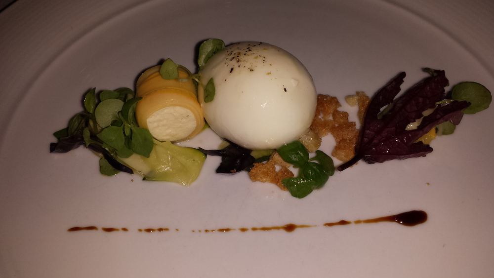 Poached duck egg.