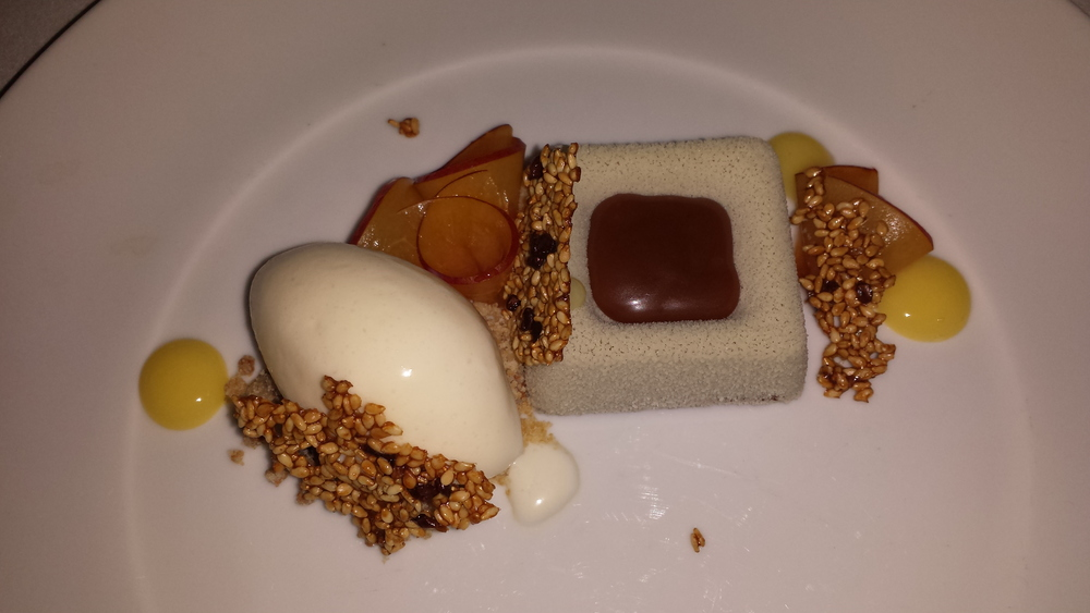 Tainori Dark Chocolate Mousse - macadamia nuts, apricots, white sesame ice cream. $10