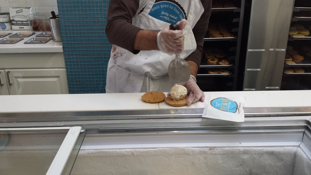 Ice cream sandwich production in action.