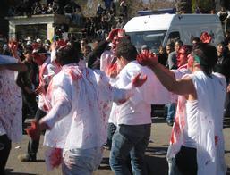 Bebloede processie