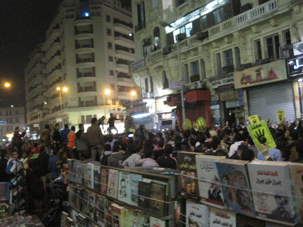 Protesting behind the book stalls, Downtown Cairo.