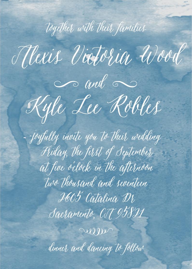 Watercolor Script Wedding Invitation