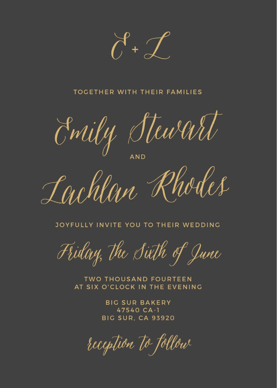 Rustic Script Wedding Invitation