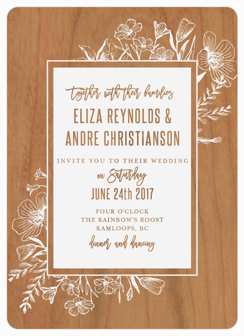 Floral Border Wood Wedding Invitation