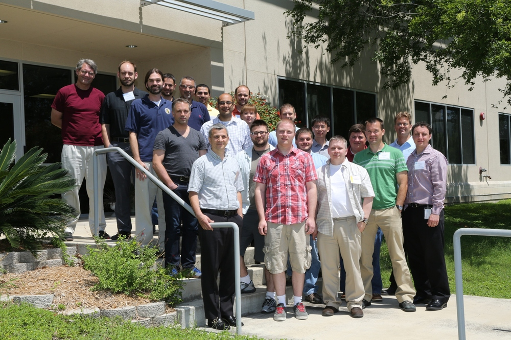 The ubiquitous group photo outside the training building. In attendance: ABB, August Ninth Analyses, Boeing, CNRC, HDT Robotics, Motoman Robotics, NRL, OSRF, Spirit AeroSystems, SwRI, UTARI, UT Austin NRG.
