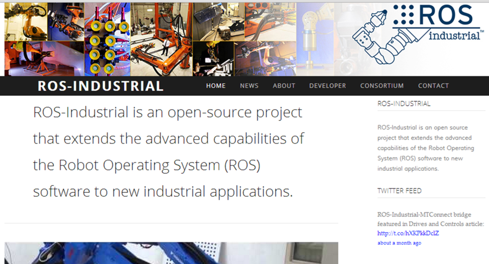 New ROSindustrial.org home page