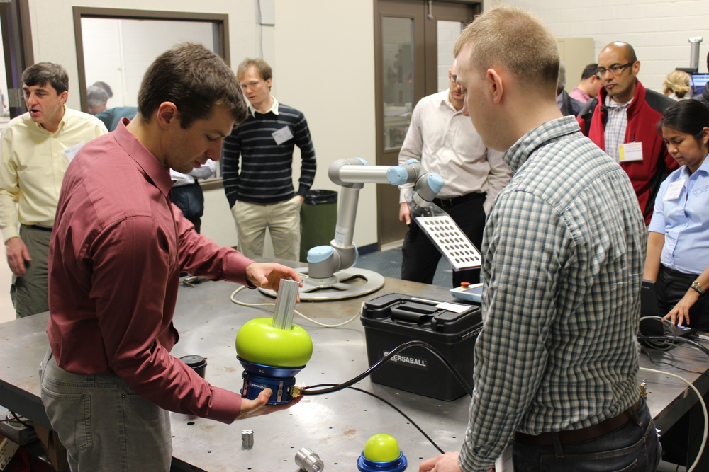 March: Brian Gerkey from OSRF trying out the VersaBall from Empire Robotics.