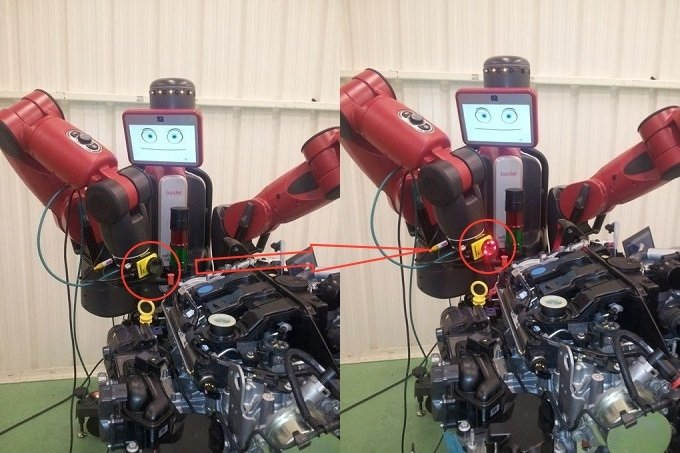 baxter performing an inspection task with aN ARM-mounted cognex camera