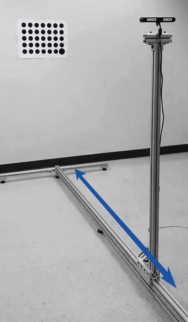 The new intrinsic calibration procedure requires one to move the camera to known positions along an axis that is approximately normal to the calibration target.