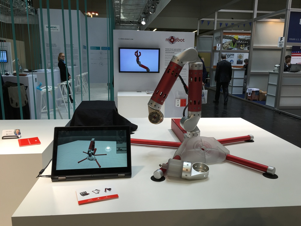 Modbot Alpha Robot Demo at Hannover Messe 2016 (Photo: Shawn Schaerer)