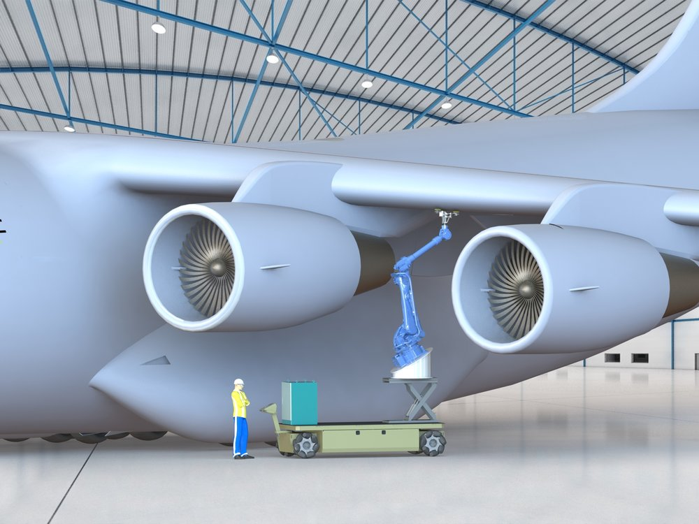 An illustration depicts how a robotic arm commonly used in advanced manufacturing can be adapted to perform multiple functions such as under-wing sanding or composite repair on military aircraft. (Image Courtesy of Southwest Research Institute)