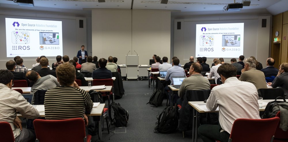 Dr. Brian Gerkey opened the ROS-Industrial Conference with a keynote about the origins of ROS and recent developments.