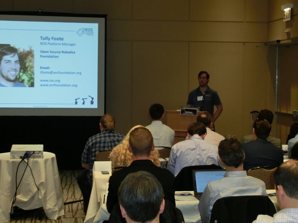 The Open Source Robotics Foundation was represented by Tully Foote who took questions during an open mic session, and also led a round table roadmapping discussion about ROS/ROS 2 core.