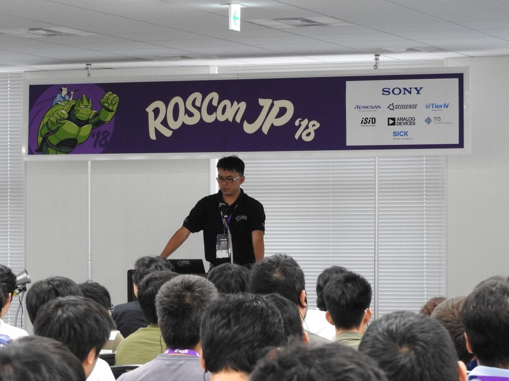 Fig 4.  Nicholas Yeo representing ROS-Industrial Consortium - Asia Pacific provided the insights on ' The Journey of building ROS-Industrial initiatives in Asia Pacific'