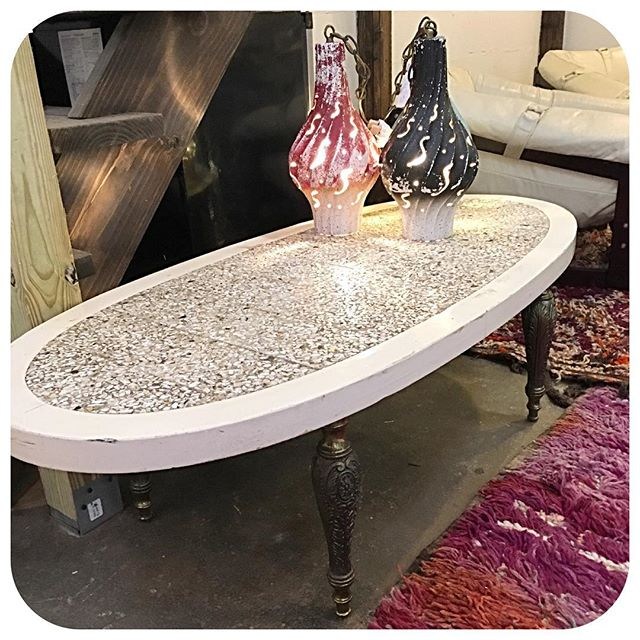 Deal of the night!! Vintage mosaic shell coffee table with heavy brass legs...$40!!! Come get her at the Germantown Art Crawl 4-9pm 100 Taylor St #nashville #smallbusiness #germantownnashville #art #vintage