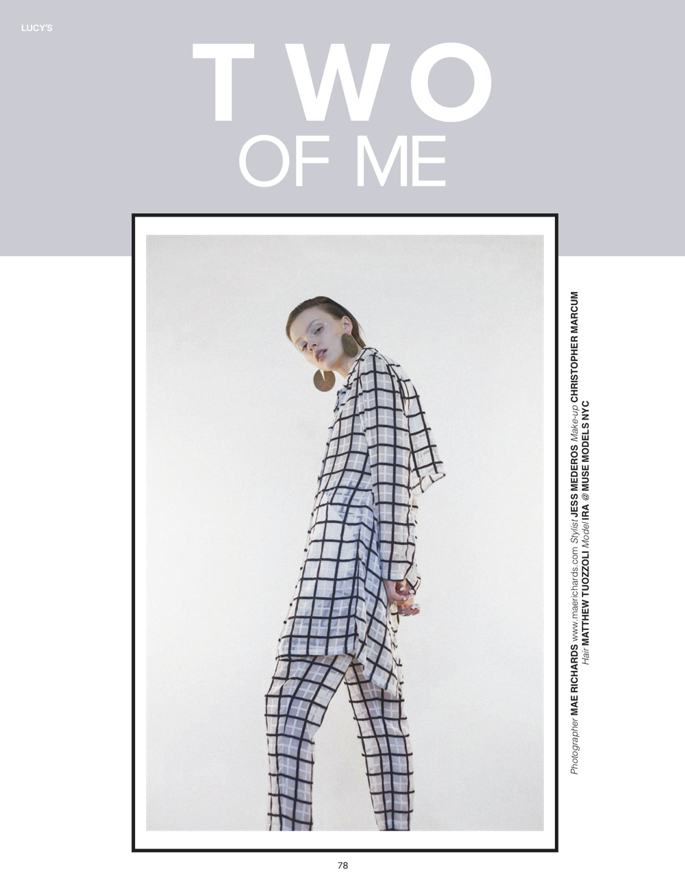 'Two of Me' Editorial Cover Story Lucy's Volume 13