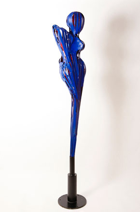 'Anima Eterna' by Portland sculptor Francisco Salgado. Large scale, figurative blue metal sculpture.