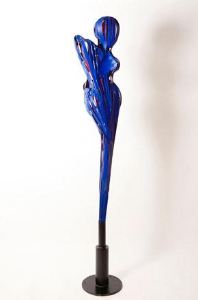 'Anima Eterna' by Portland sculptor Francisco Salgado. Large scale, figurative blue metal sculpture.