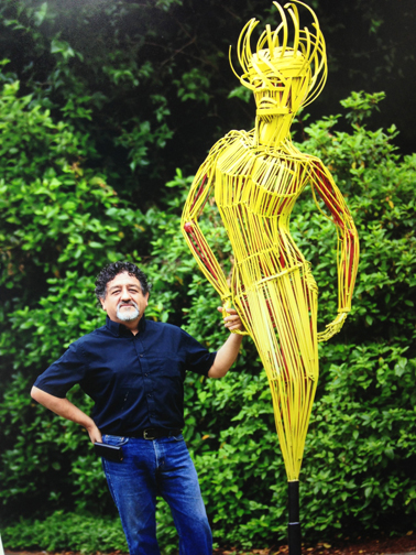 Francisco Salgado, NW Sculptor with  Contrapposto, a large scale metal sculpture at Lake Oswego's Gallery without Walls in Oregon.