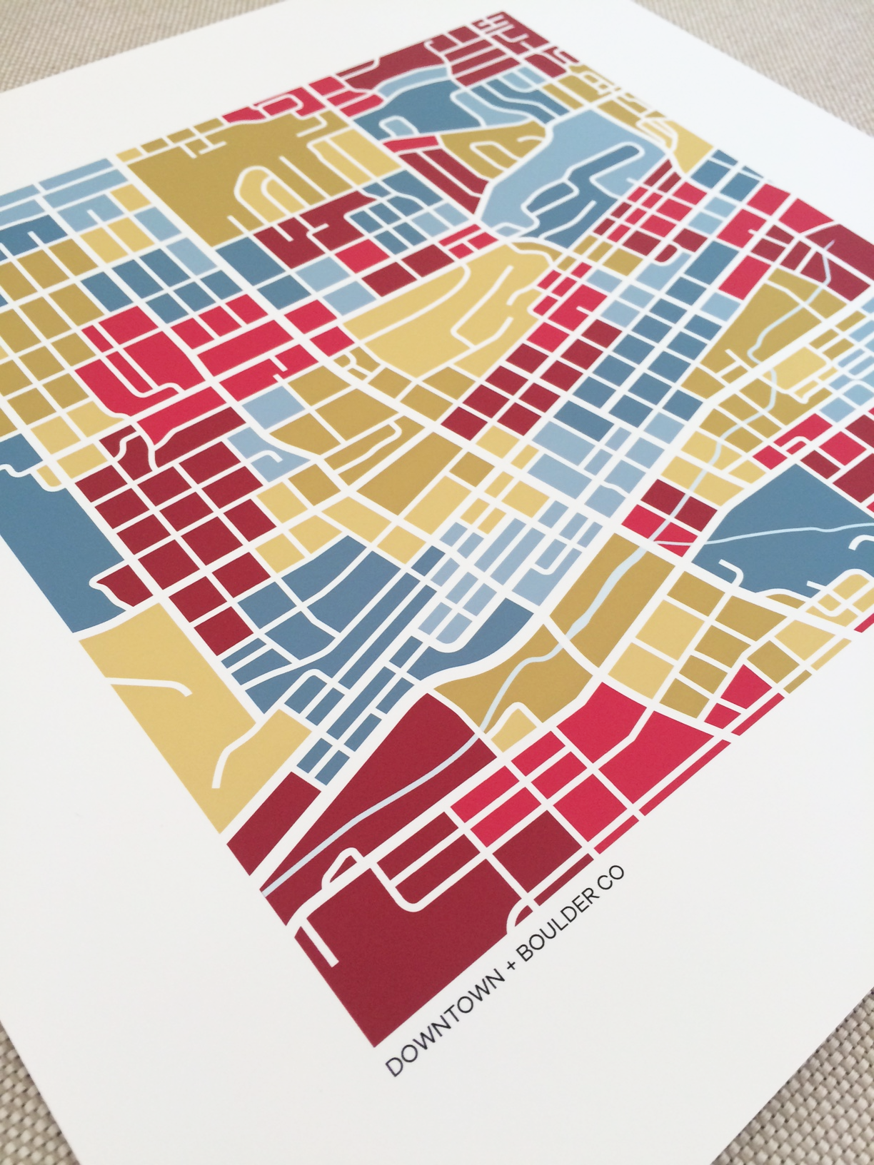 Boulder CO Downtown Map Print GridLove Designs