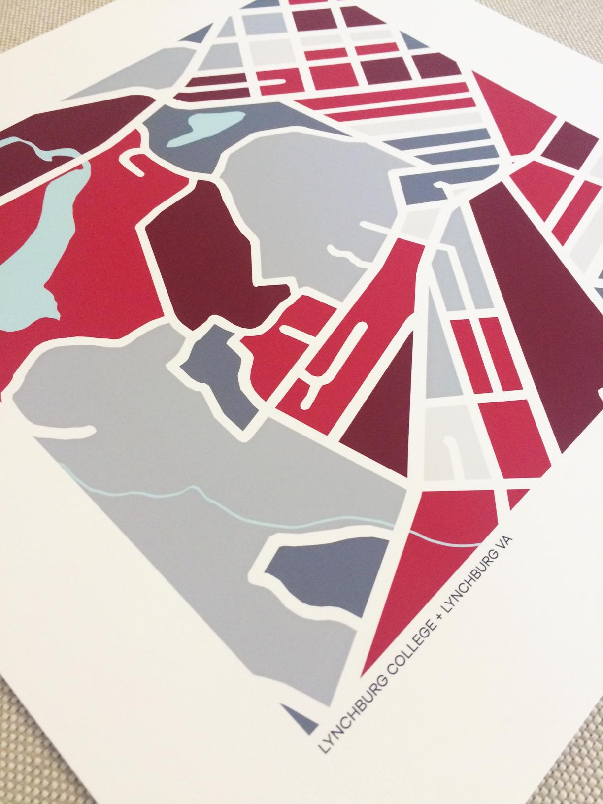 Lynchburg College | Map Print — Grid+Love Designs