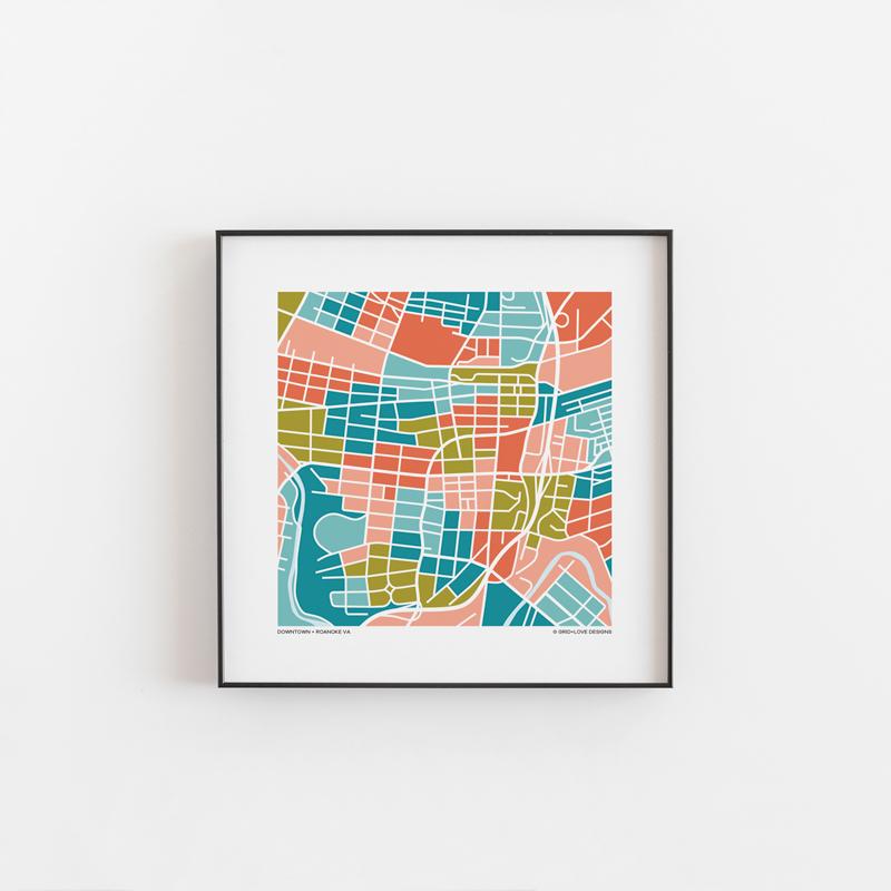 Roanoke VA Downtown Map Print GridLove Designs