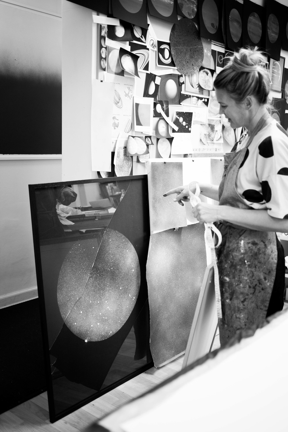 Anne showing me her 'Black Moon' print where the whole process is reversed.
