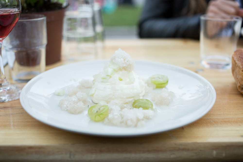 This dessert was amazing. Vanilla mouse with fennel, gooseberries, and lemon ice.