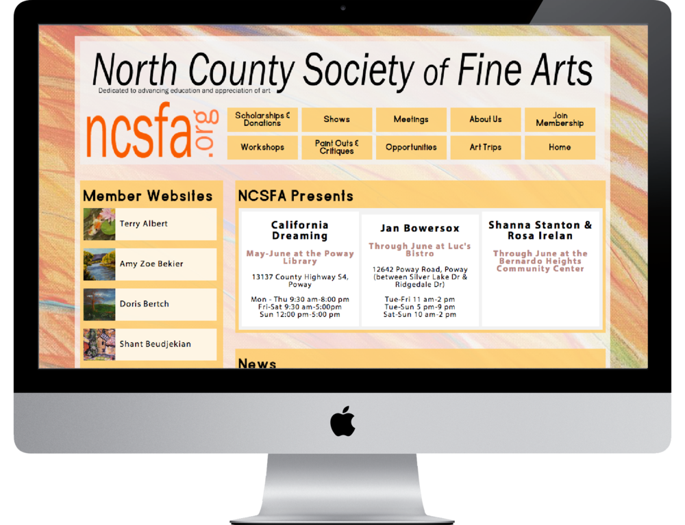 Logo :: Custom Website   North County Society of Fine Arts     ncsfa.org