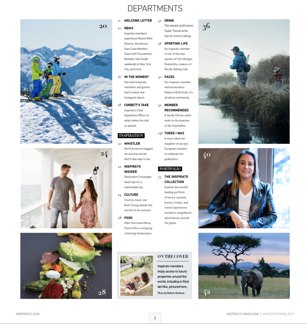 Photos of Brett & Taylor Young featured in  Inspirato  Magazine - Winter/Spring 2019 issue