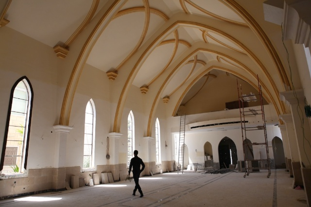 Christian Church Under Construction on Easter Sunday. Amman, Jordan.