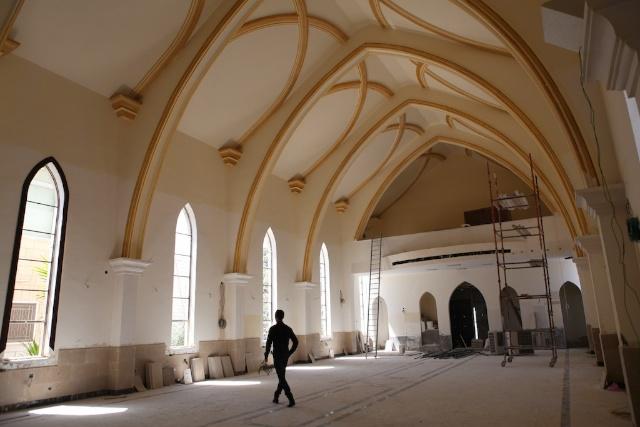 Christian Church Under Construction on Easter Sunday. Amman, Jordan.