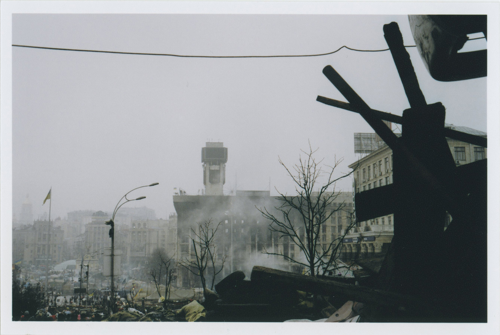 A view of the Trade Unions Building, which was burnt down February 18th. The building was one of the headquarters for protestors, containing the main medical center, press center, kitchens, and security center.    Photo: Michael Berlucchi