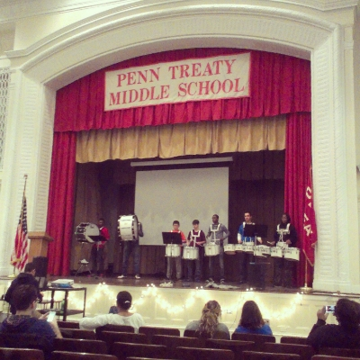 Penn Treaty students perform during our first PhilaSoup Ambassador event. The Penn Treaty soup raised over $2,200 for student projects and brought out over 130 community members and local business support.