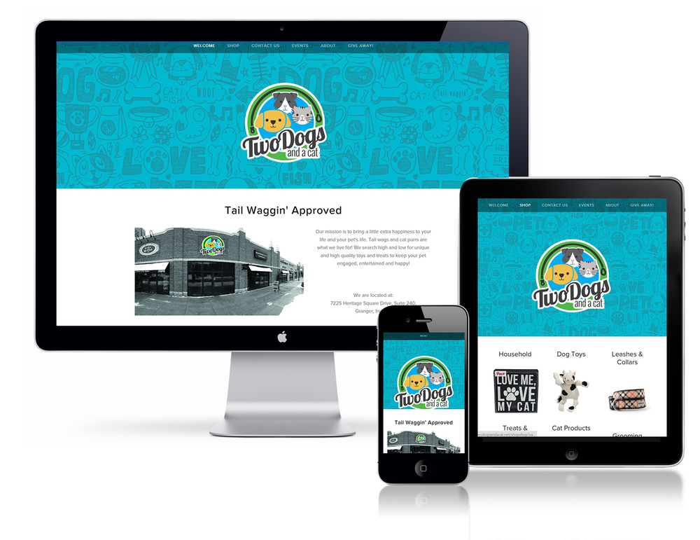 Two Dogs and a Cat Website and Online Shop