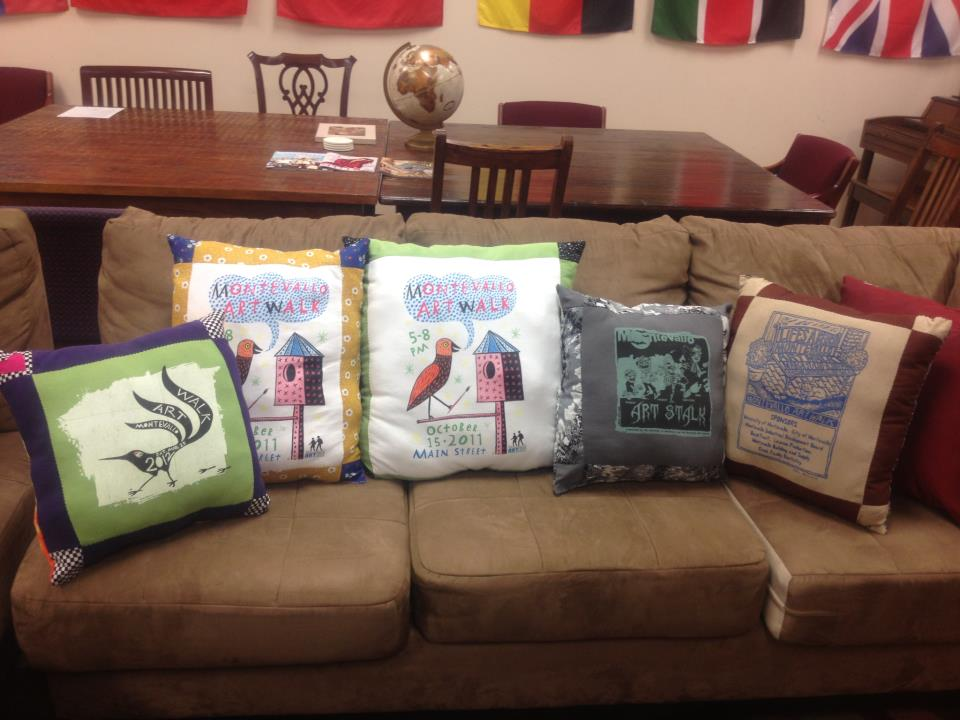 Courtney Bennet's transformation of the Artwalk event t-shirts into beautiful one-of-a-kind pillows.