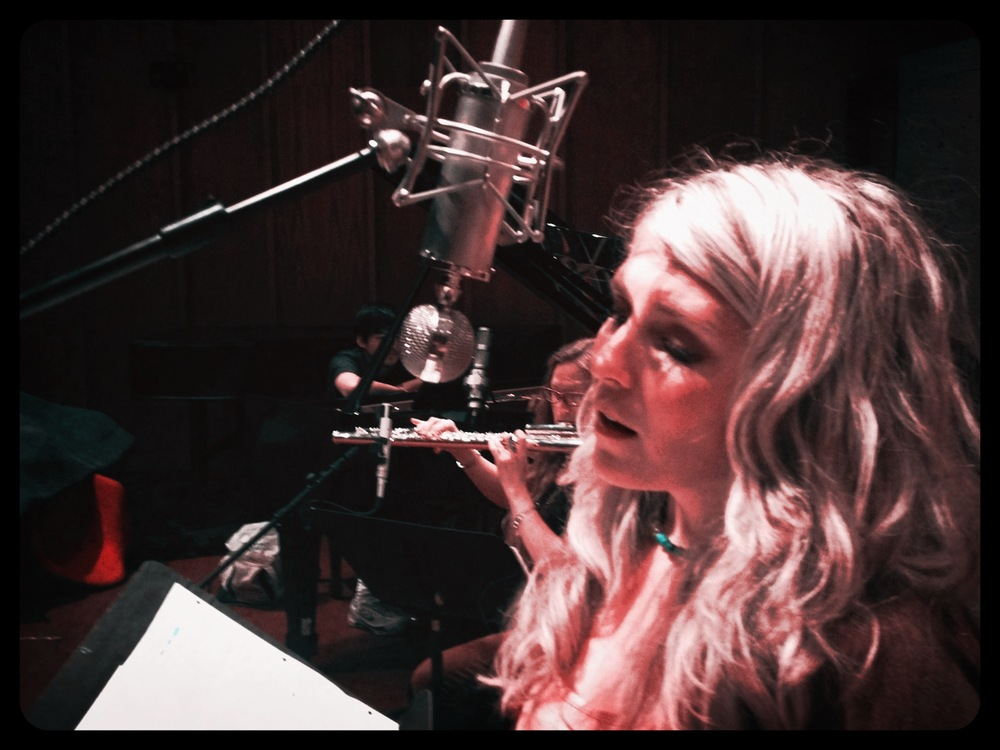Amanda DeBoer Bartlett at the recording session for Aaron Einbond's  Without Words  .