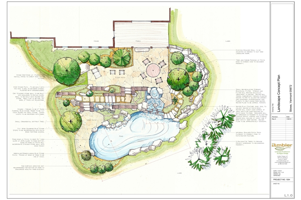 Natural pool ambler design for Swimming pool plan layout
