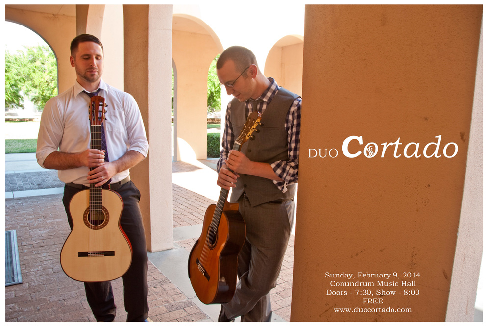 Duo Cortado will perform at Conundrum Music Hall on February 9, 2014. See  Calendar  for more information on upcoming performances.