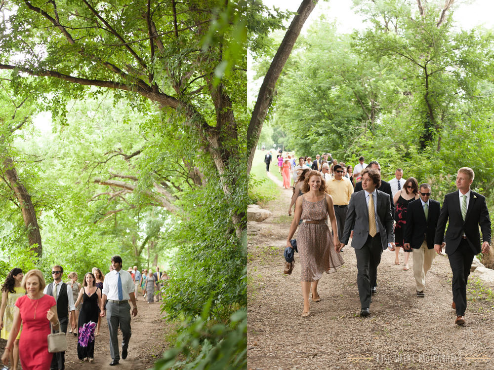 Before the ceremony, all of their guests (including Billy) walked together down the tree-covered path to the park. It was so serene, and it seemed to create a sense of community among the guests.