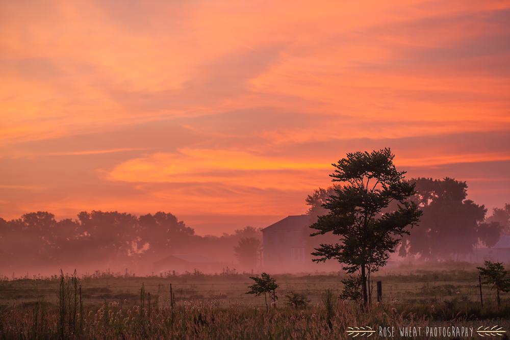 A mist-filled Manhattan, Kansas sunrise.