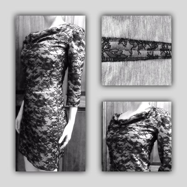 Our Chantille Dress, Lace fused to cotton jersey. Elegant on the outside, like wearing your pajamas on the inside!