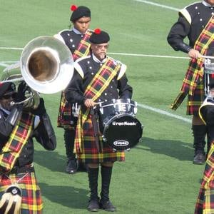 The Kilties in action with ErgoSonic bass drums at the 2015 Drum Corps Associates World Championships Preliminary Competition