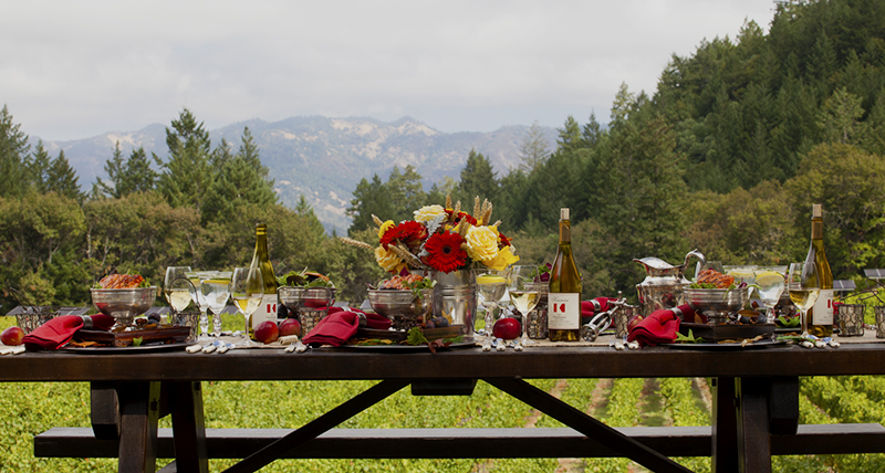 A picnic of salmon and chardonnay at Robert Keenan Winery overlooking the Napa Valley floor and mountains on the east side of the valley.