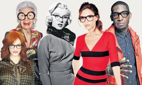 Bespectacled stars Christina Hendricks, Iris Apfel, Marilyn Monroe, Victoria Beckham and Tinie Tempah. Photograph: Rex Features / Eroteme.co.uk / Photomontage by Guardian Imaging
