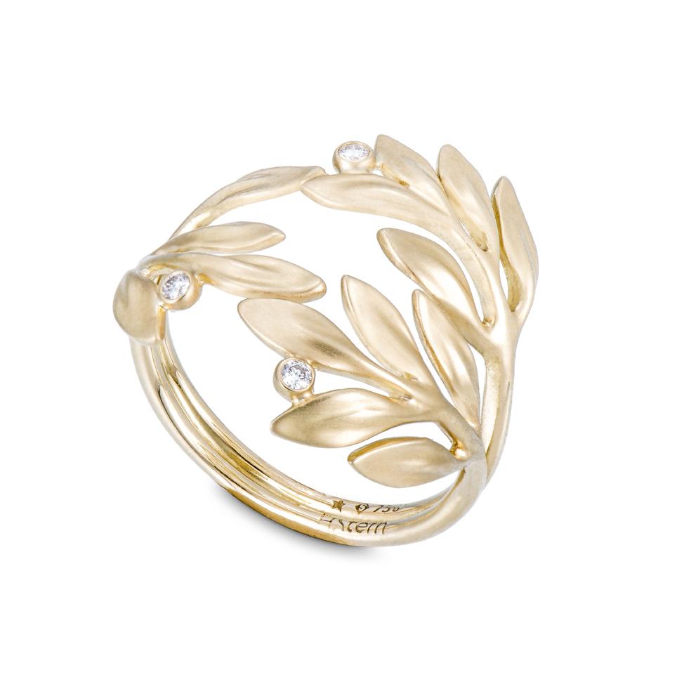 Anel Louros da Vitória de ouro amarelo 18K com detalhes de diamantes  (A2B 205247).jpg