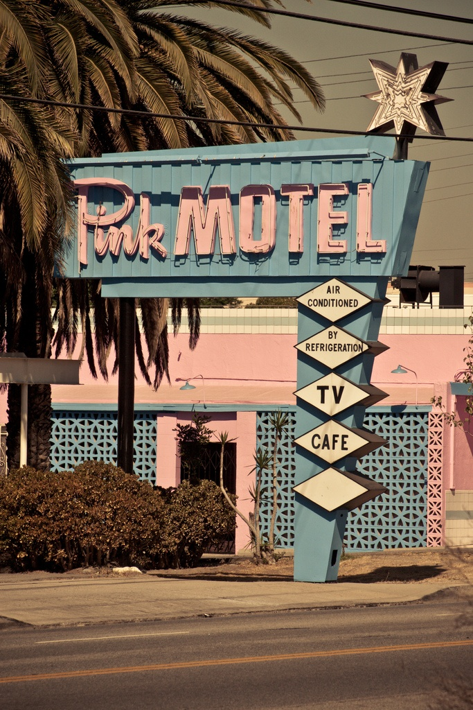 Classic 50's-60's Pink Motel sign | photo by Corey Miller
