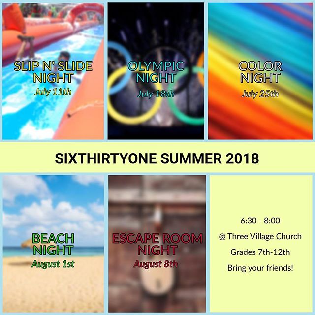 We've missed you all...but hopefully not for much longer! Starting next week, we will begin our summer session! Each Wednesday we will meet at the church, except for our Beach Day, which will take place at West Meadow Beach. We hope to see you there next Wednesday...wear your swimsuits!!